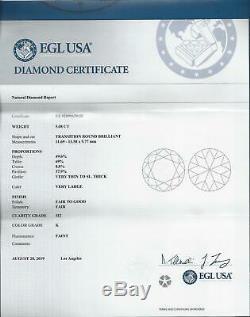 5.08ct 11.6mm Certified Vieux Européen Cut Diamond Anciennes 5 Carat K Si2