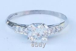 Ancien Art Déco C1920s Vieux European Cut Diamond Platinum Ring Estate Bijoux