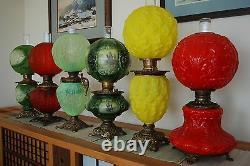 Ancien Arts Artisans Huile Kerosene Art Nouveau Déco Gwtw Victorien Lampe À Vieux Verre