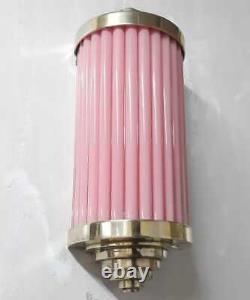 Ancien Vieux Art Vintage Déco Laiton & Rose En Verre Rod De Vaisseau Light Wall Scences Lampe