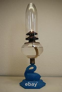Ancien Vieux Kérosène Huile Atterbury Boston Sandwich Verre Victorian Lampe Eapg