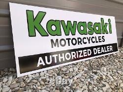 Ancien Vieux Style Kawasaki Dealer Signe Restocké