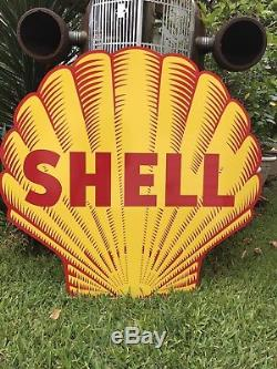 Ancienne Enseigne Shell Huile Et Essence Vintage Style 40