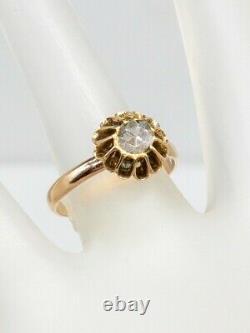 Ancienne Géorgienne De 1830. 75ct Vieille Mine Rose Coupé Diamant 14k Anneau D'or Jaune