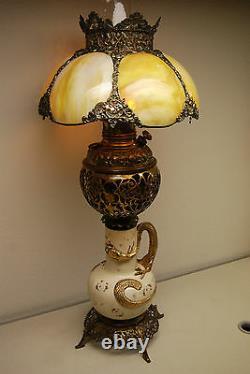 Ancienne Gwtw Vieux Verre De Laitier Victorien Chinois Huile De Dragon Japonais Lampe Kérosène