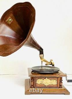 Ancienne Hmv Ancienne Machine En Bois Collectionnable Gramophone / Phonographe Bg 03