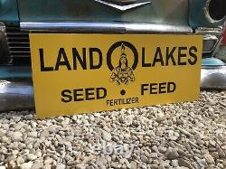 Ancienne Old Style Land O Lakes Agricultural Seed Feed Sign