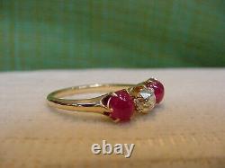 Ancienne Rubis Victorienne Et Ancienne Bague Diamantée Coupée 18k Or