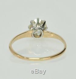 Anciennes 14k 8 Prong 3 / 4ct Ancienne Mine À Diamant Solitaire Taille Bague De Fiançailles