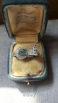 Anciennes Domaine D'emeraude Old Diamond Cut Filigrane Palladium Taille 5.5 Bague