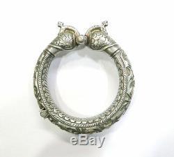 Anciennes Ethnique Tribal Old Silver Peacock Charnière Bracelet Inde