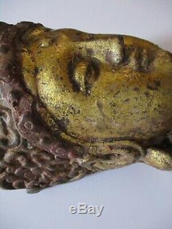 Anciennes Tête De Bouddha Ancien En Fonte Sculpture Statue Asiatique Art Heirloom