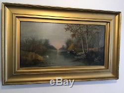 Anciennes Très Ancienne Gilt Signé Peinture À L'huile Encadrée Sur Toile C1916
