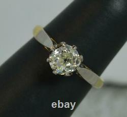 Antique 0.95ct Ancienne Mine Cut Diamond 18ct Or Et Platine Bague De Fiançailles D0347