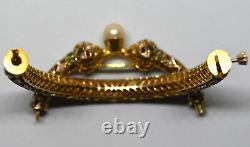 Antique +150 Ans Vieux 10k Or Massif, Naturel Émeraude Et Bracelet Perle