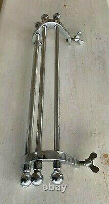 Antique 15 Chrome Laiton Essuie-serviettes Rack Rack Sur Vtg Salle De Bain Vieux 24-21j