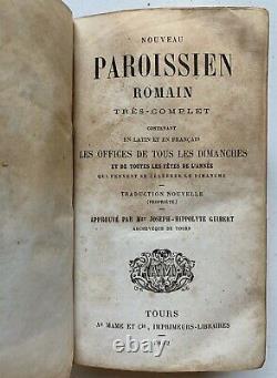 Antique (1862) Bible Française Nouveau Livre De Parishioner En Latin Et Français Vieux Vintage