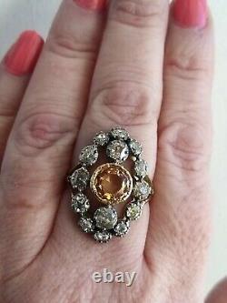 Antique 18ct Georgian Imperial Topaz Old Cut Diamond 2.25ct Anneau 18ct Or