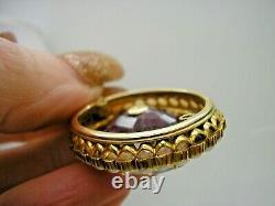 Antique 18ct Or Real Pearl & Diamond Pendentif Améthyste 0,9 Ct Vieux Diamant Coupé