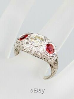 Antique 1920 5000 $ 1.60ct Old Diamond Cut Orange Sapphire Platinum Filigree Bague