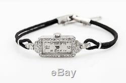 Antique 1920 Gravé Platinum 1ct Vs G Old Diamond Cut Ladies Watch Garantie