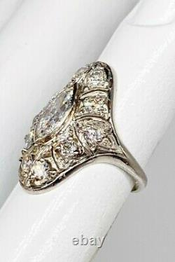 Antique 1920s 8000 $ 2,25ct Marquis Old Euro Diamond Platinum Ring Taille Gratuite