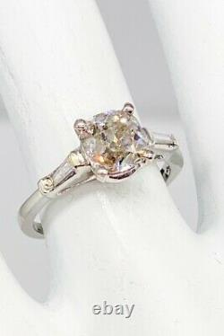 Antique 1930 $12,000 2.53ct Old Mine Cut Champagne Diamond Platinum Wedding Ring