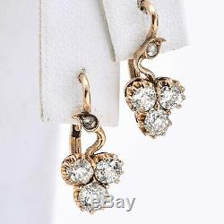 Antique 19ème Siècle En Or 14k 1,20 Tcw Old Euro Diamond Levier-back Boucles D'oreilles 3.1g