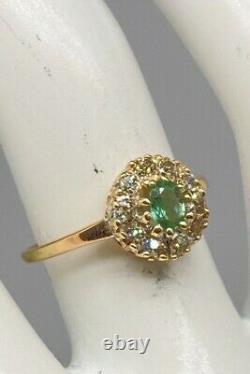 Antique $5000 1.50ct Natural Alexandrite Old Euro Diamond 14k Jaune Bague En Or