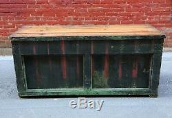 Antique 5ft Pays Magasin Comptoir Green Table Workbench Vintage Vieux Bureau De Peinture
