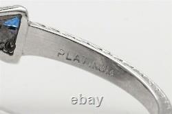 Antique Années 1920 1.50ct Old Euro Diamond Sapphire Platinum Bow Tie Filigree Ring
