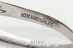 Antique Années 1920 1.50ct Vs H Old Mine Cut Diamond Sapphire Platinum Filigree Ring
