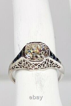 Antique Années 1920 $20,000 2ct Old Euro Diamond Blue Sapphire Platinum Filigree Ring