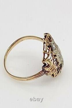 Antique Années 1920. 33ct Old Mine Cut Diamond 14k Yellow Gold Filigree Ring