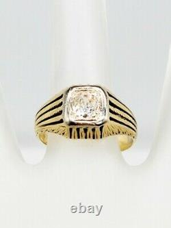 Antique Années 1920 $4500.85ct Old Euro Si1 J Diamond 14k Yellow Gold Mens Ring Band