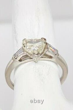 Antique Années 1930 $6000 Deco 1.32ct Old Heart Cut Diamond Platinum Wedding Ring Rare