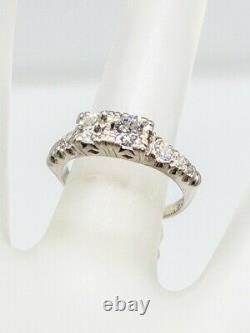 Antique Années 1930 Art Déco 1.25ct Old Euro Diamond Platinum Wedding Band Ring