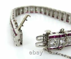 Antique Art Déco 9.0ct Ancienne Mine Cut Diamond & Ruby 6.5ct Platinum Bracelet