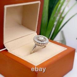 Antique Art Déco Old European 0.70 Tcw Diamond Halo Ring 18k Or Blanc