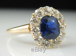 Antique Blue Sapphire Ancienne Mine De Diamants Bague En Or Jaune 14k Art Déco Vintage
