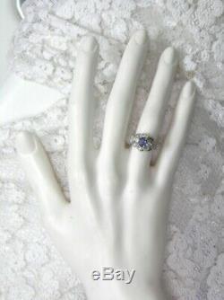 Antique Domaine Solide 14kt Wg Véritable Saphir Old Diamond Cut Deco Filigrane Anneau
