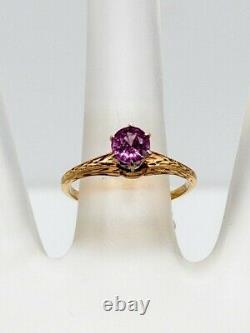 Antique Edouardian 1900s 1ct Vieux Euro Natural Saphir Rose 14k Anneau Or Jaune