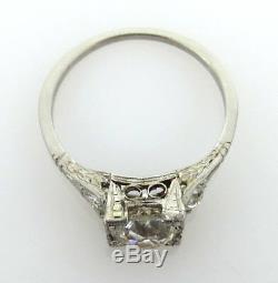 Antique Edwardian 1.21ct Ancienne Mine À Diamant Et Bague De Fiançailles Platine Taille 6