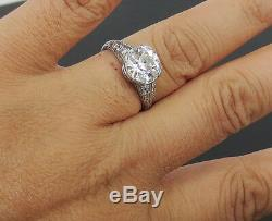 Antique Edwardian 3.49ct Old Cut Diamond Mine Platinum Décorée Bague 7,75