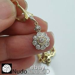 Antique Flowers Cluster Boucles D'oreilles Artnouveau Or 18k Old Cut Diamonds Platine