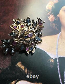 Antique Georgian Argent Vieux Coupé Authentique Ruby Sapphire Brooch