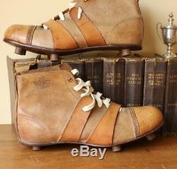 Antique La Bbc Brown Bottes En Cuir Football. Old Vintage Crampons C1910