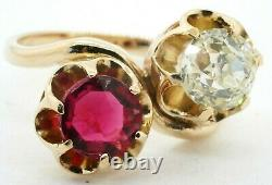 Antique Lourd 14k Yg 3.41ct Old Miner Diamant & Ruby Cocktail Ring Taille 7.75