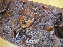 Antique Medusa Winged Serpents Dragons Panneau En Bois Sculpté À La Main D'art Décoratif