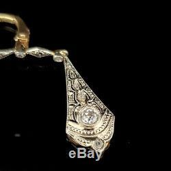 Antique Old Cut Européenne Diamant 18k Boucles D'oreilles En Or Filigrane Art Déco Vintage
